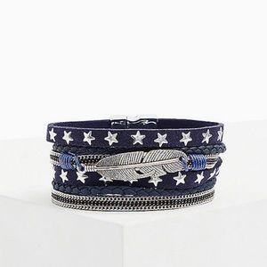 🆕 Navy & Silver-Tone Star Magnetic Bracelet NWT